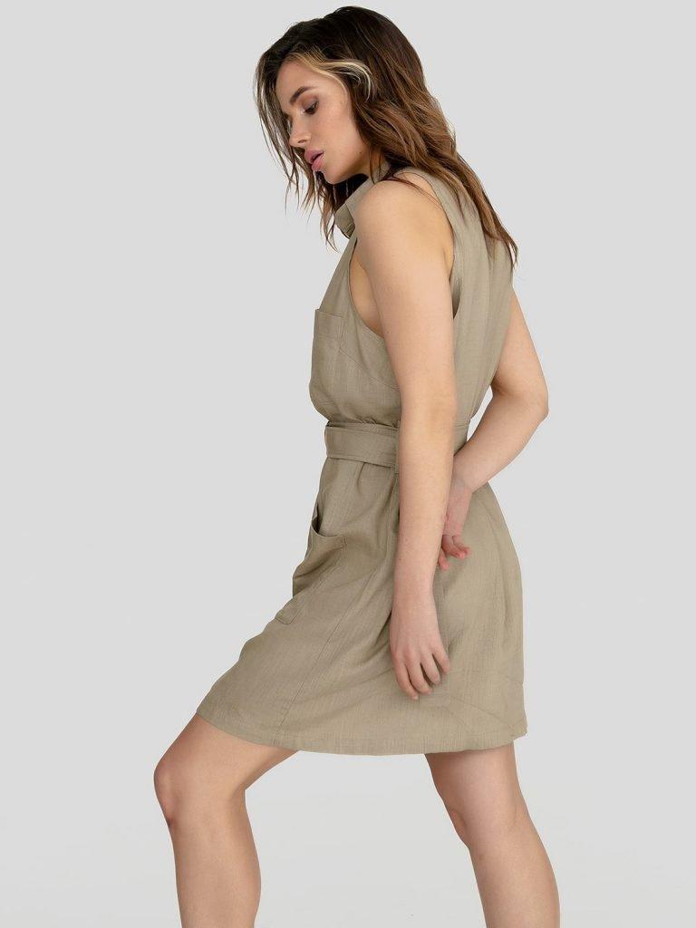 Lniana sukienka mini w stylu koszulowym khaki Katarina Ivanenko (zdjęcie 2)