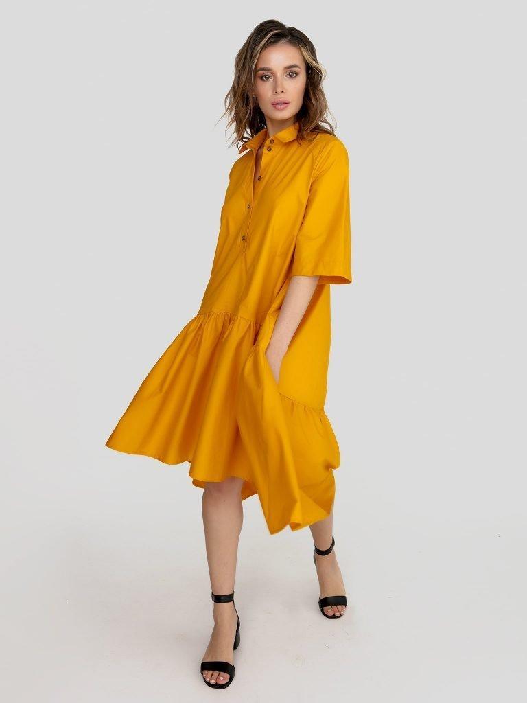 Luźna sukienka polo w kolorze żółtym Love&Live