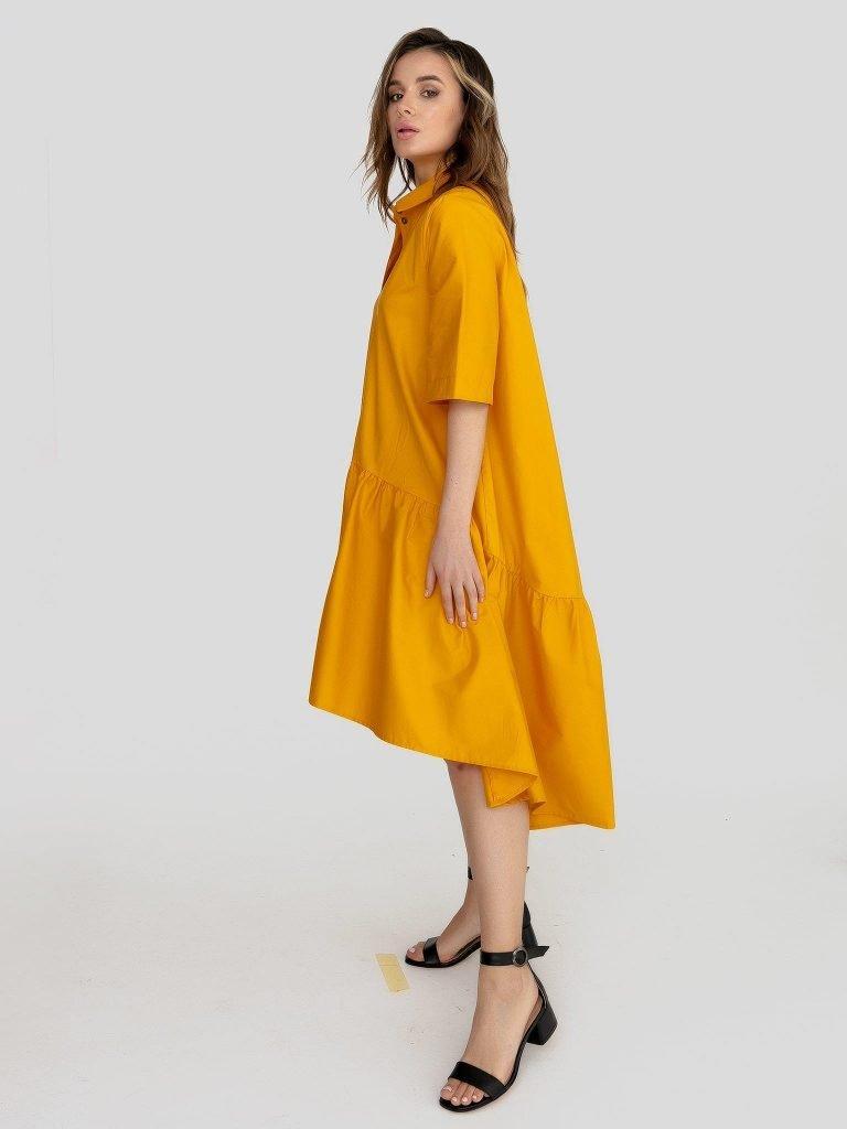 Luźna sukienka polo w kolorze żółtym Love&Live (zdjęcie 2)