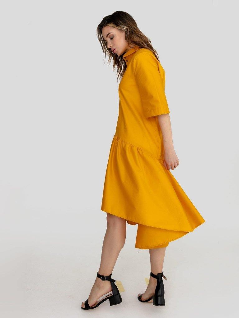 Luźna sukienka polo w kolorze żółtym Love&Live (zdjęcie 3)
