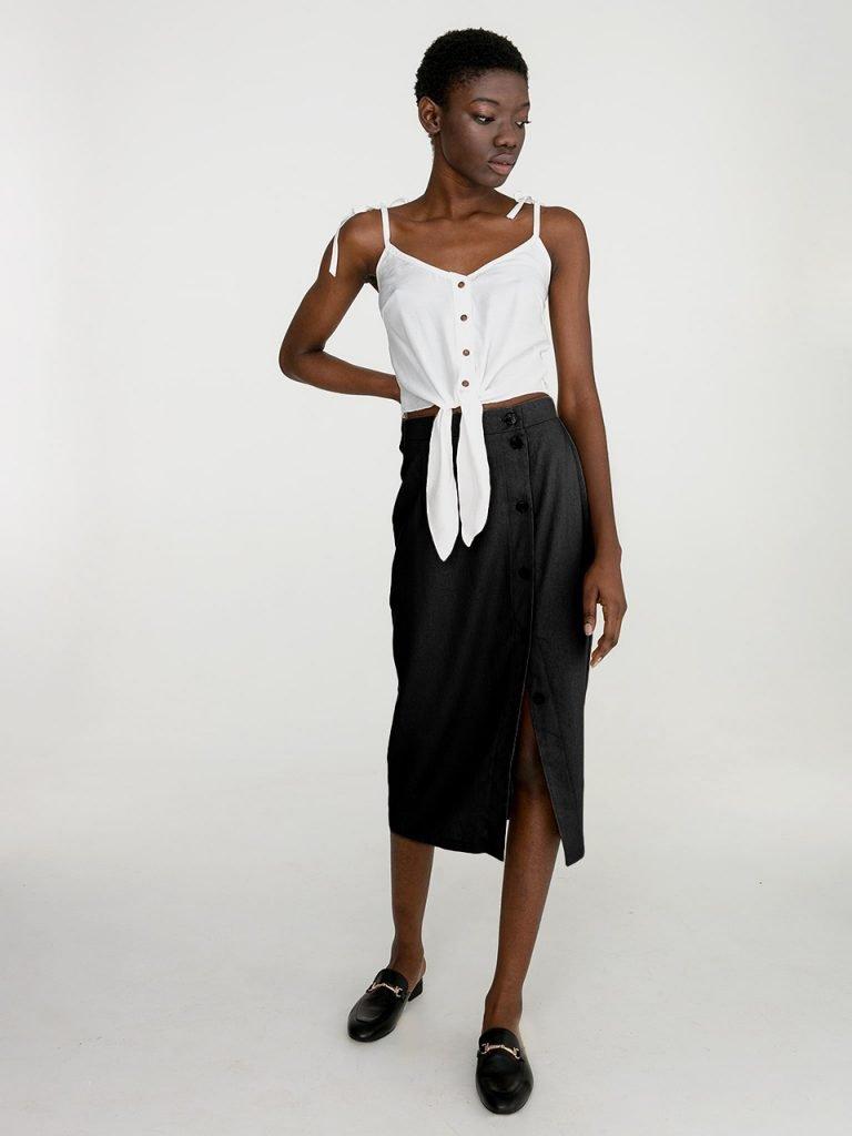 Lniana spódnica midi w kolorze czerni Katarina Ivanenko