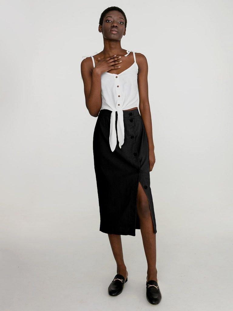 Lniana spódnica midi w kolorze czerni Katarina Ivanenko (zdjęcie 2)
