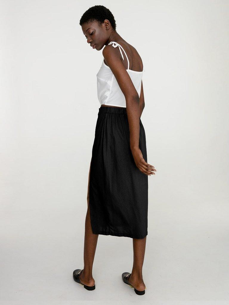 Lniana spódnica midi w kolorze czerni Katarina Ivanenko (zdjęcie 3)