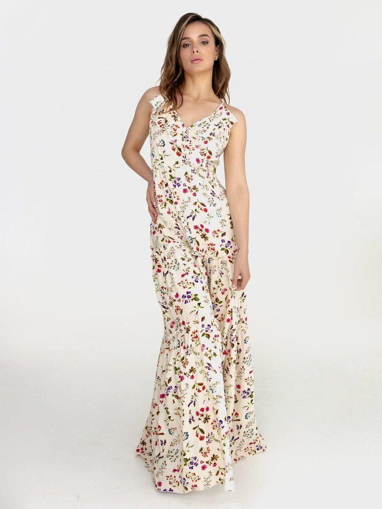 Biała sukienka maxi w kwiaty na ramiączkach Katarina Ivanenko
