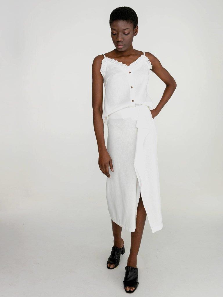 Lniana spódnica midi w kolorze złamanej bieli Katarina Ivanenko