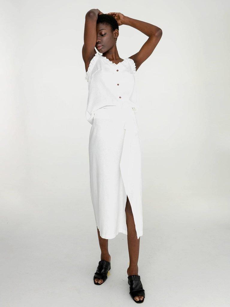 Lniana spódnica midi w kolorze złamanej bieli Katarina Ivanenko (zdjęcie 2)
