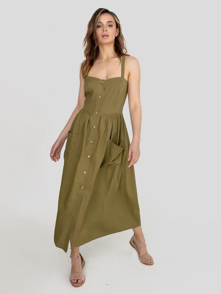 Lniana sukienka midi w kolorze khaki Love&Live
