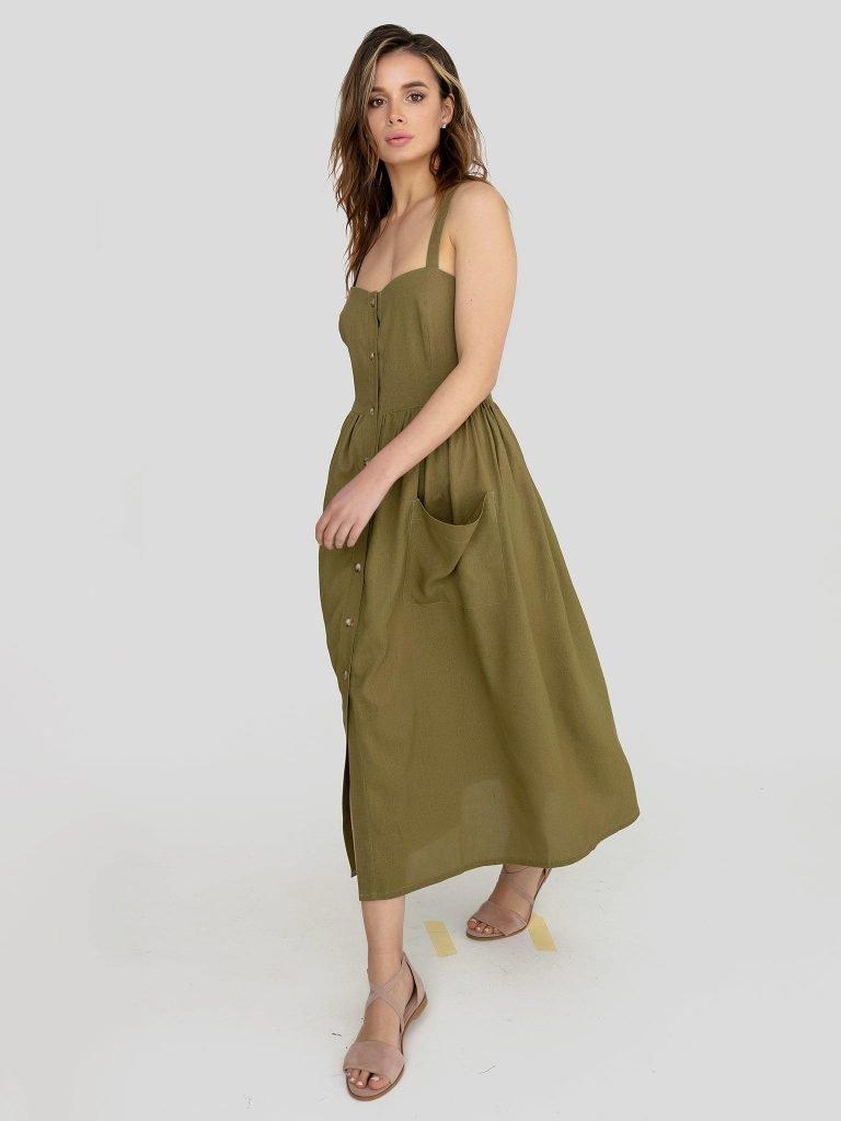Lniana sukienka midi w kolorze khaki Love&Live (zdjęcie 2)