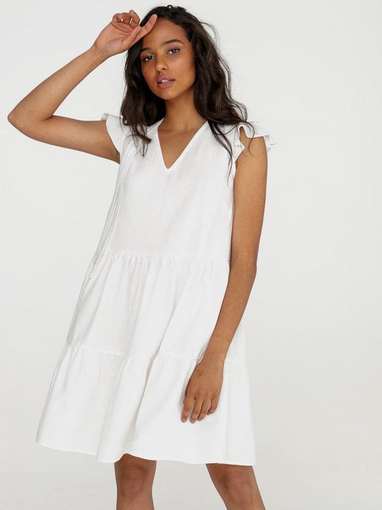 Lniana sukienka mini w kolorze mlecznym Love&Live (zdjęcie 3)