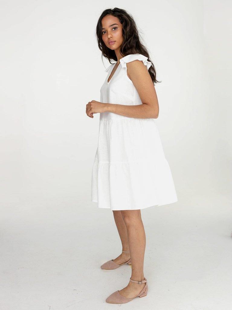Lniana sukienka mini w kolorze mlecznym Love&Live (zdjęcie 2)