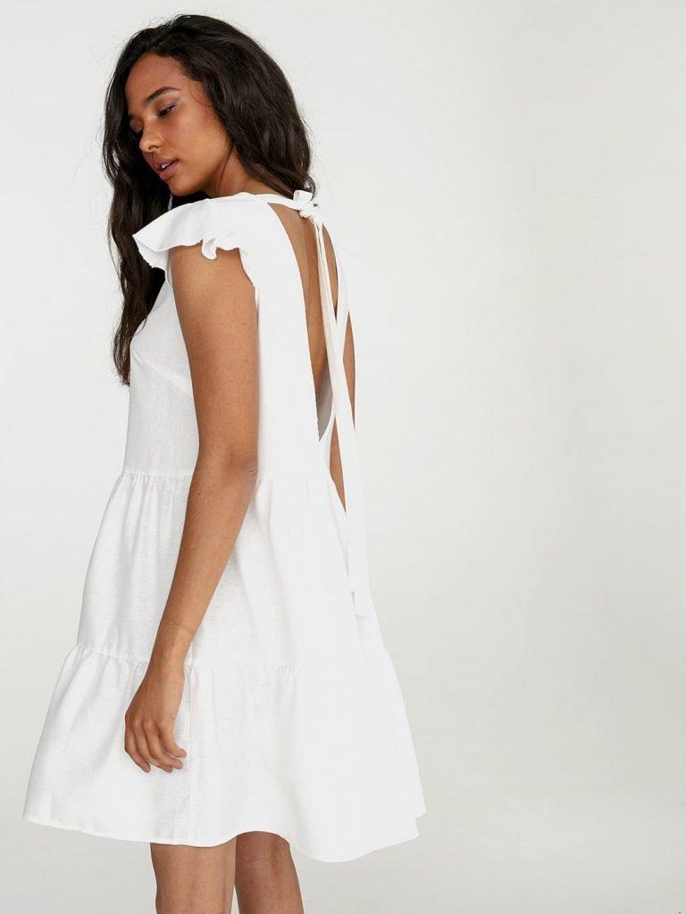 Lniana sukienka mini w kolorze mlecznym Love&Live