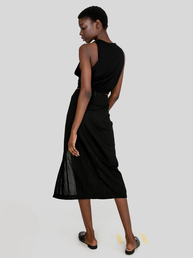 Lniana spódnica midi w kolorze czerni z rozcięciem Katarina Ivanenko (zdjęcie 4)