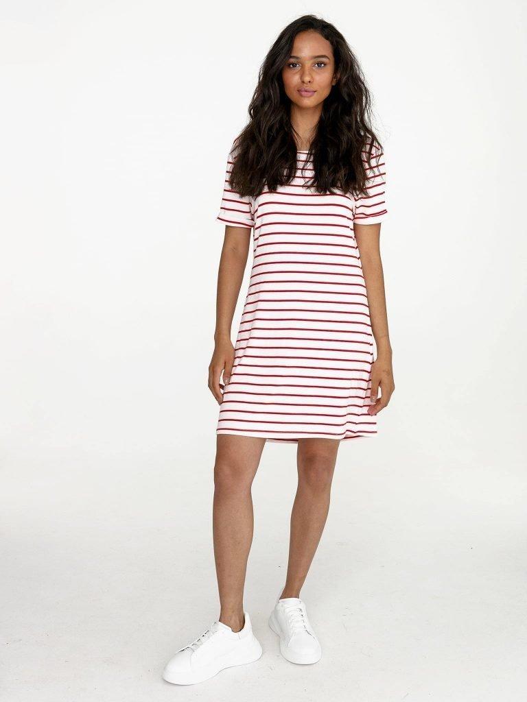 Odsłaniająca plecy sukienka koszulkowa midi biała w czerwone paski Love&Live (zdjęcie 2)