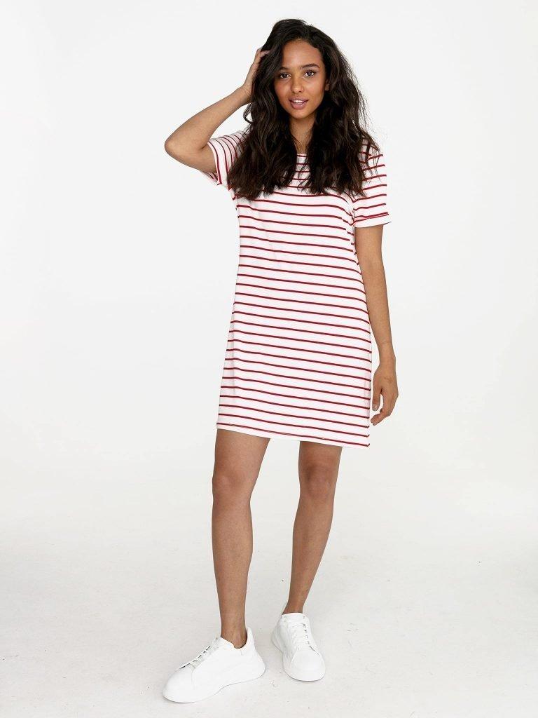 Odsłaniająca plecy sukienka koszulkowa midi biała w czerwone paski Love&Live