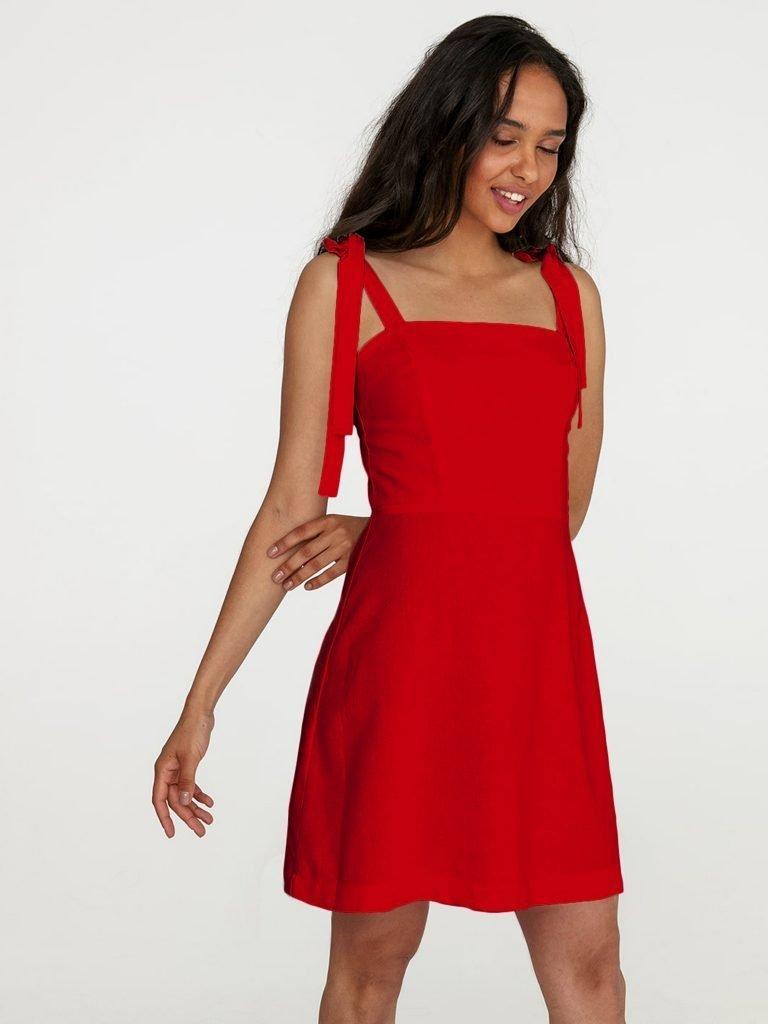 Lniana sukienka mini w kolorze czerwonym Love&Live