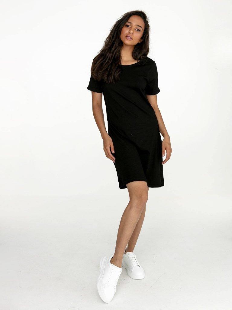Odsłaniająca plecy sukienka koszulkowa midi w kolorze czerni Love&Live (zdjęcie 2)