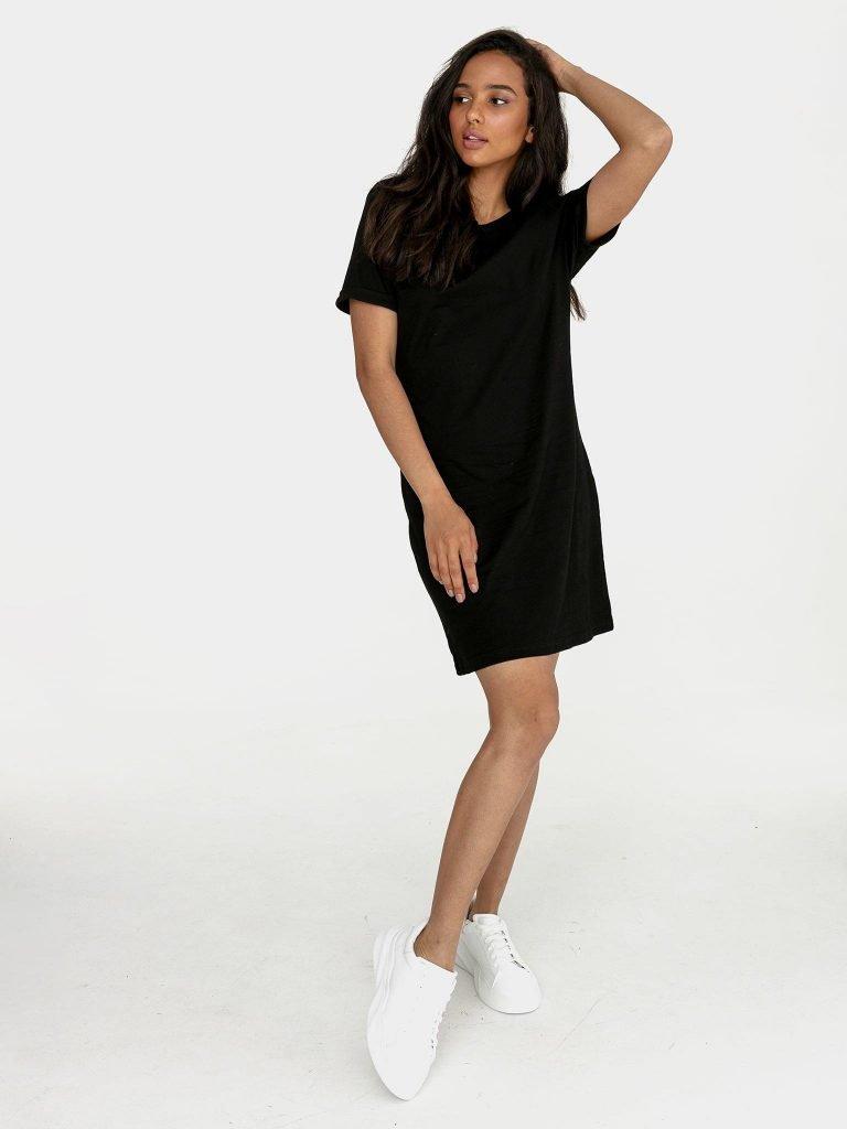 Odsłaniająca plecy sukienka koszulkowa midi w kolorze czerni Love&Live (zdjęcie 3)