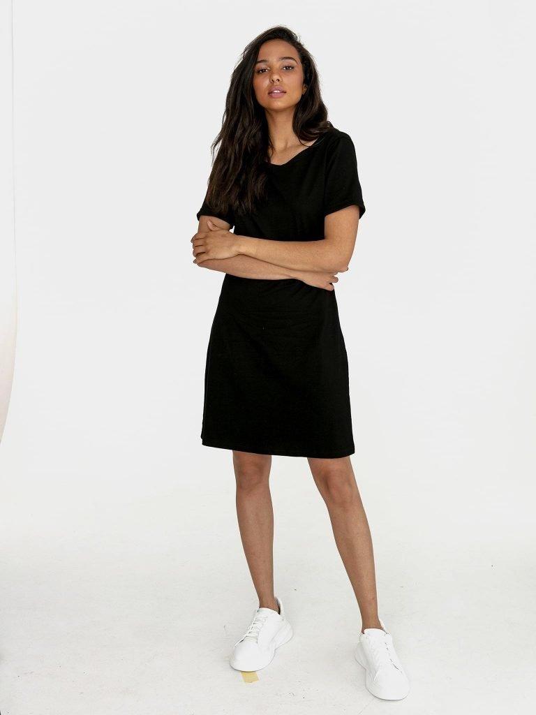Odsłaniająca plecy sukienka koszulkowa midi w kolorze czerni Love&Live (zdjęcie 4)