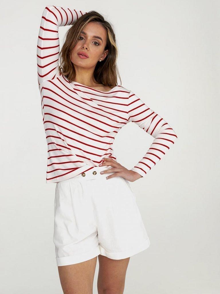 Biało czerwona koszulka w paski Katarina Ivanenko