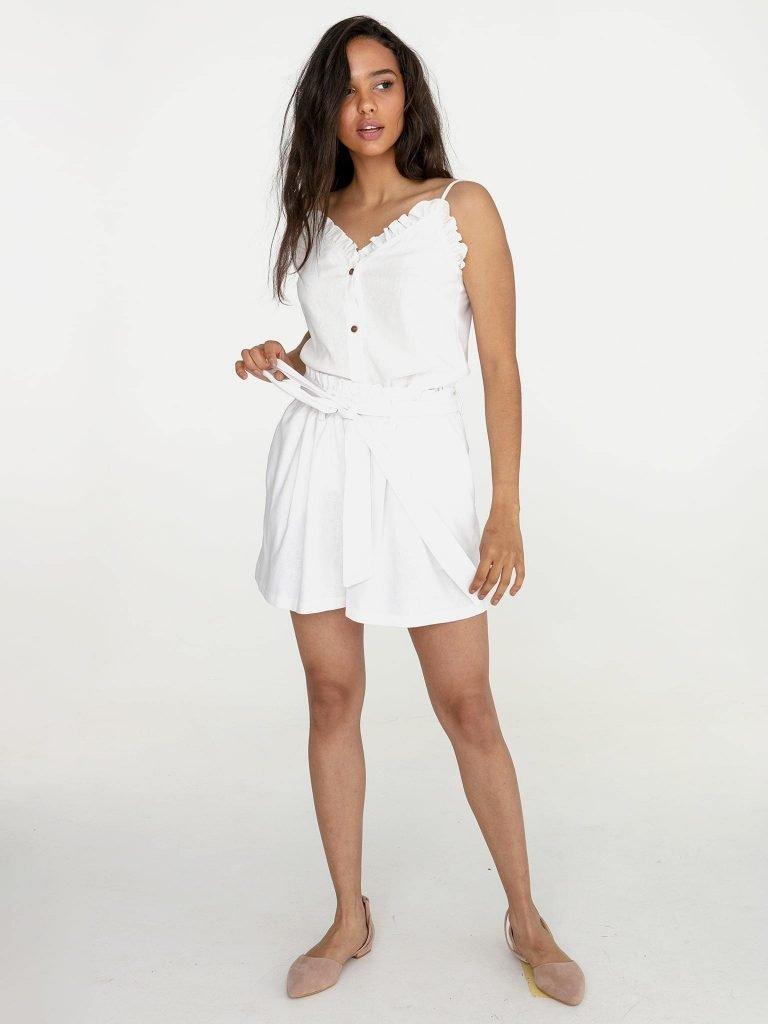 Lniane szorty w kolorze złamanej bieli Katarina Ivanenko (zdjęcie 3)