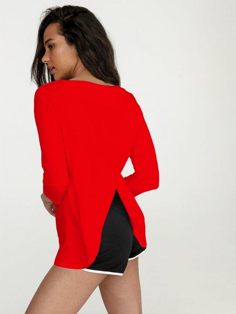 Czerwona koszulka z długim rękawem z zapachem na plecach Love&Live (zdjęcie 2)