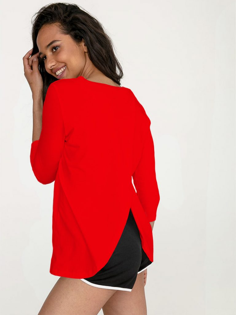 Czerwona koszulka z długim rękawem z zapachem na plecach Love&Live