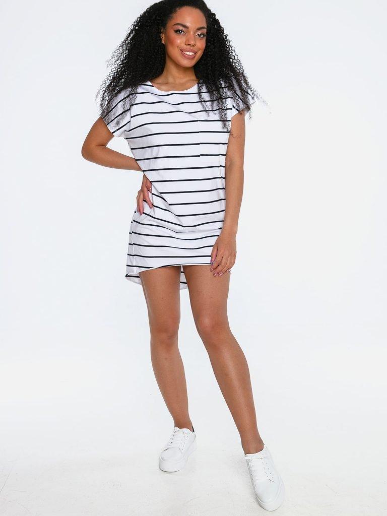 Sukienka mini w stylu t-shirtu białoczarna w paski Love&Live (zdjęcie 2)