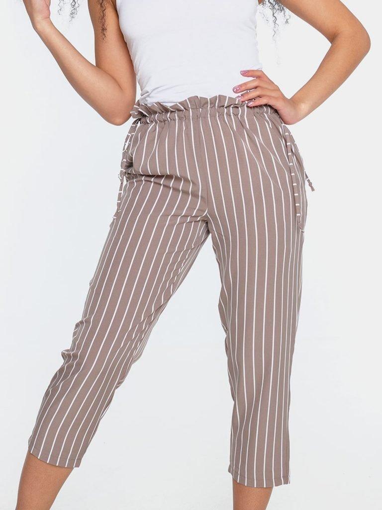 Beżowo-białe spodnie kuloty w paski z wiązaniem w pasie Love&Live (zdjęcie 2)