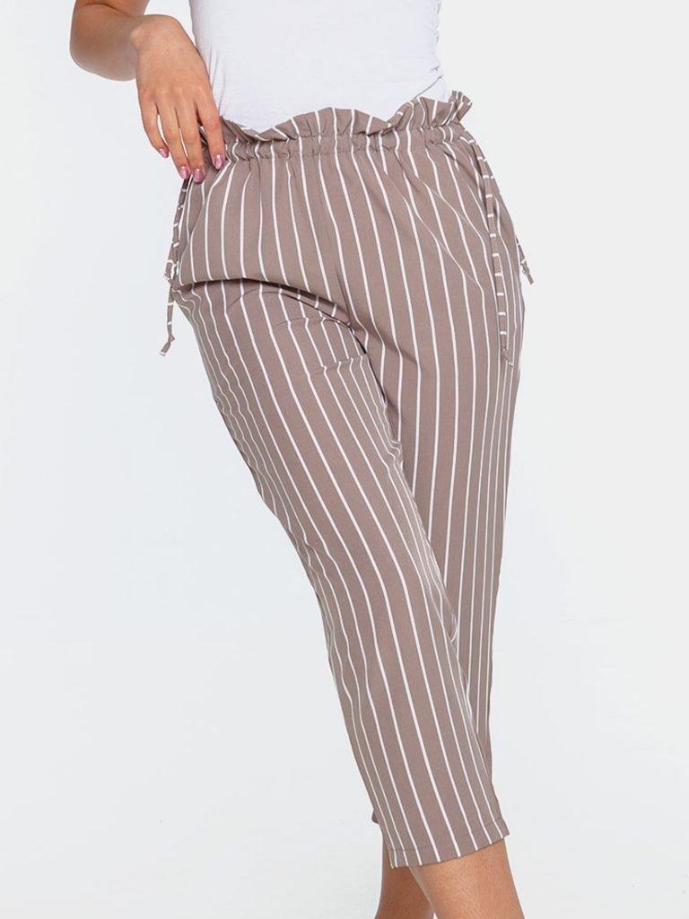Beżowo-białe spodnie kuloty w paski z wiązaniem w pasie Love&Live (zdjęcie 3)