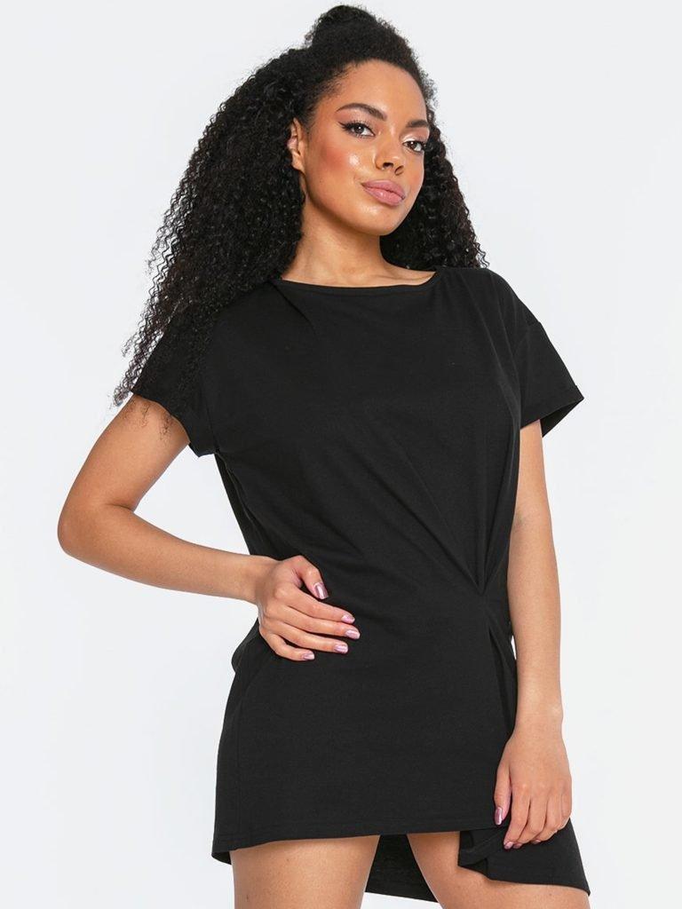 T-shirt w stylu oversize czarny z asymetrycznym dołem Katarina Ivanenko