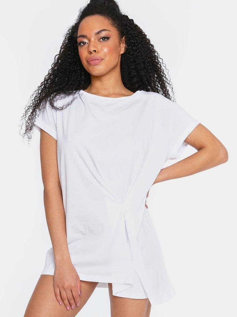 T-shirt w stylu oversize biały z asymetrycznym dołem Katarina Ivanenko