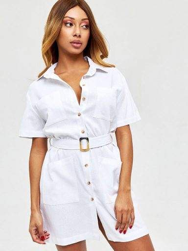 Lniana sukienka w stylu koszulowym w kolorze bieli Love&Live (zdjęcie 5)