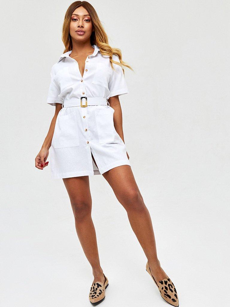 Lniana sukienka w stylu koszulowym w kolorze bieli Love&Live (zdjęcie 3)