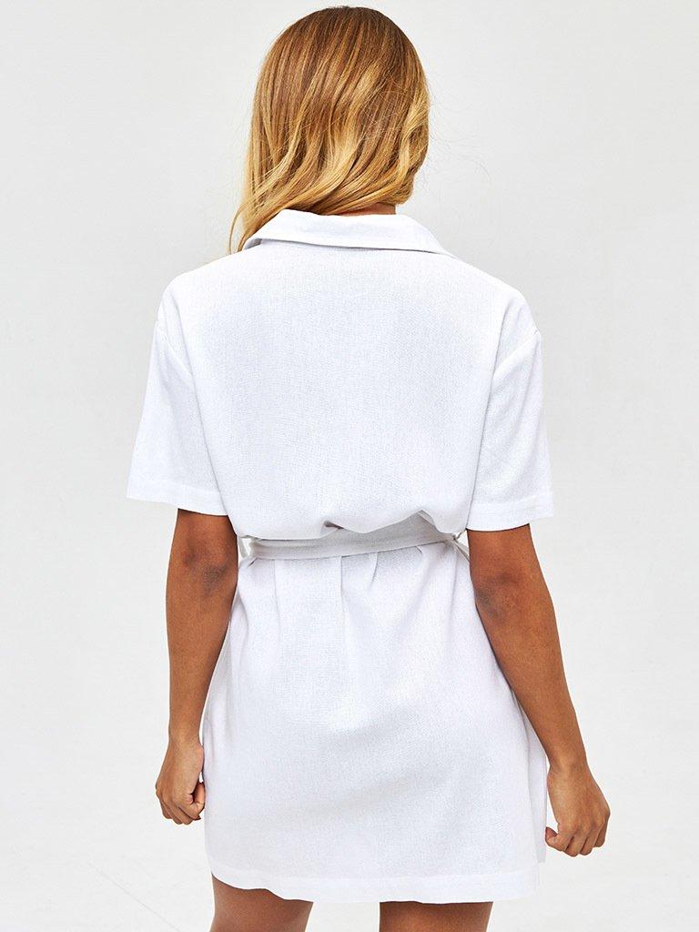 Lniana sukienka w stylu koszulowym w kolorze bieli Love&Live (zdjęcie 4)