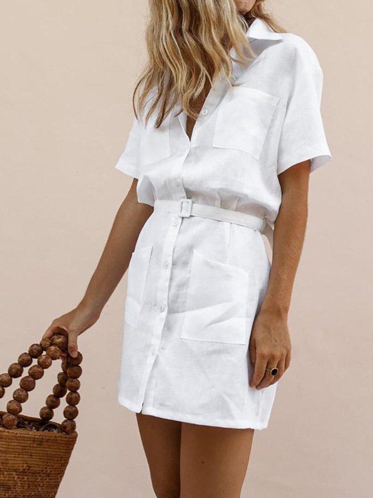 Lniana sukienka w stylu koszulowym w kolorze bieli Love&Live