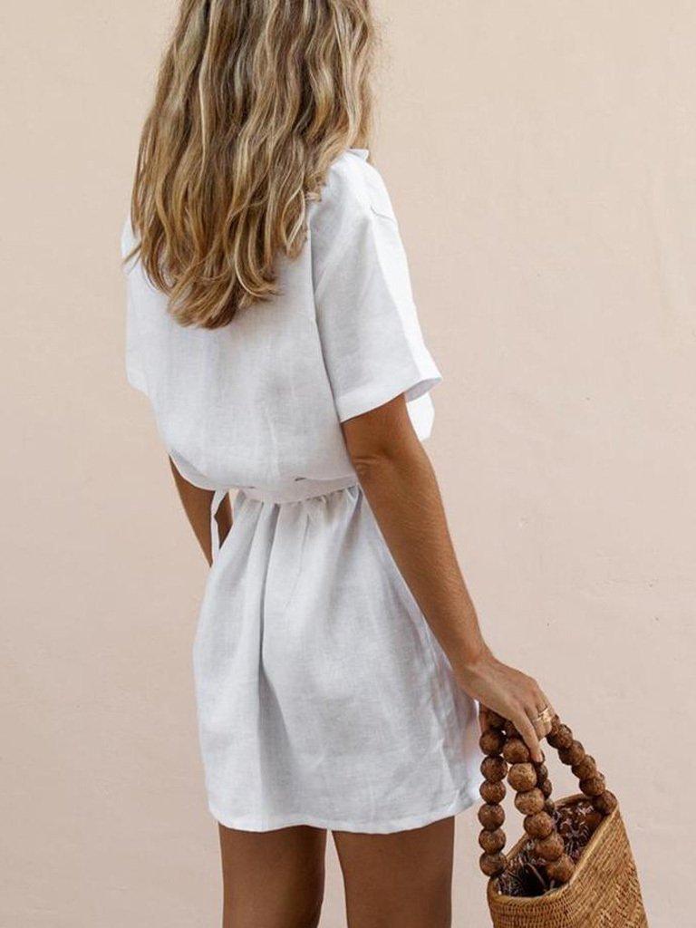 Lniana sukienka w stylu koszulowym w kolorze bieli Love&Live (zdjęcie 2)