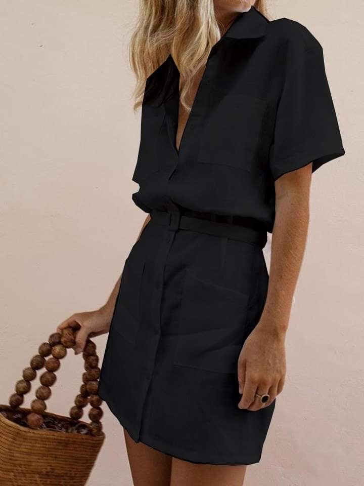 Lniana sukienka w stylu koszulowym w kolorze czerni Love&Live