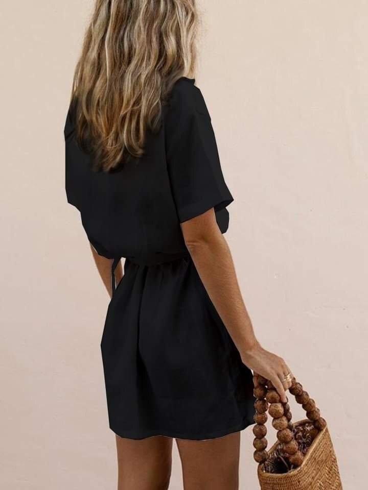 Lniana sukienka w stylu koszulowym w kolorze czerni Love&Live (zdjęcie 2)