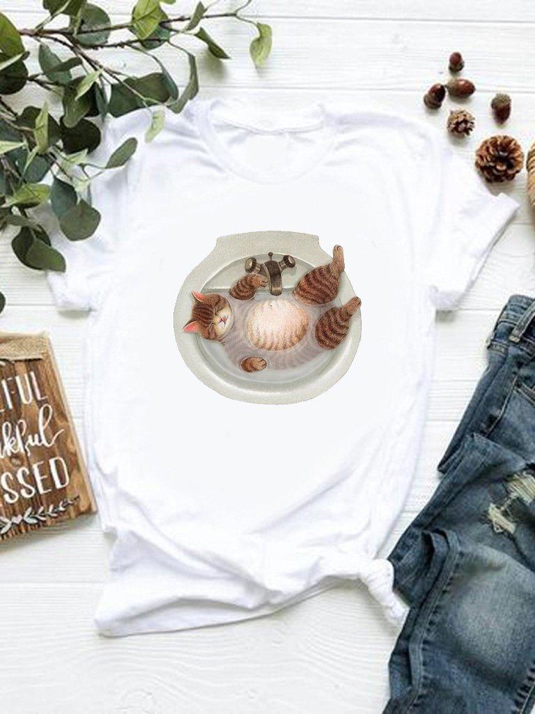 T-shirt biały Kąpiel Katarina Ivanenko