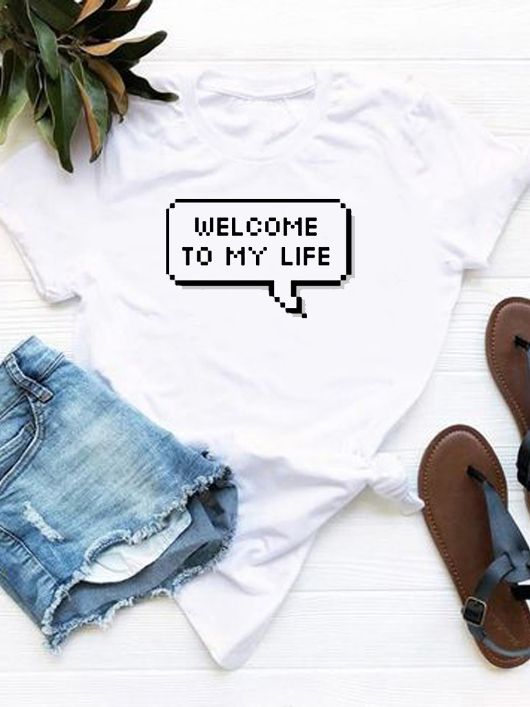 T-shirt biały Welcome to my life Love&Live