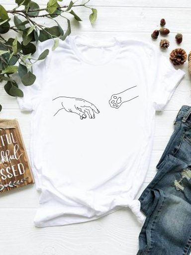 T-shirt biały Podaj łapę Katarina Ivanenko (zdjęcie 13)