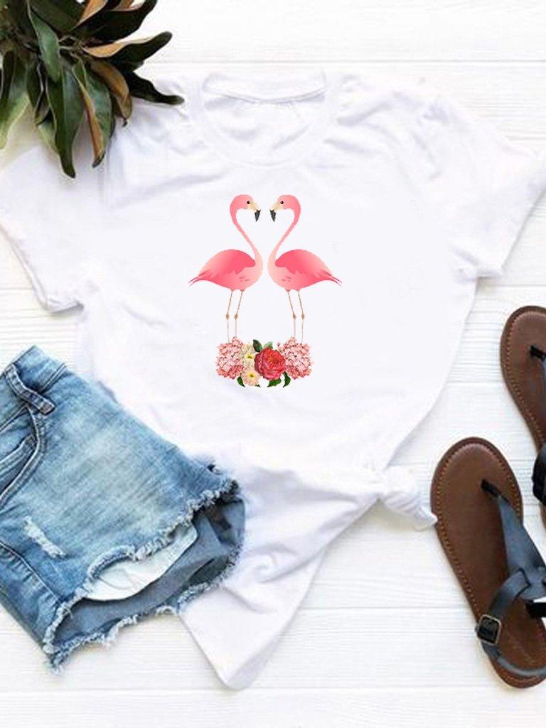 T-shirt biały Zakochane flamingi Love&Live