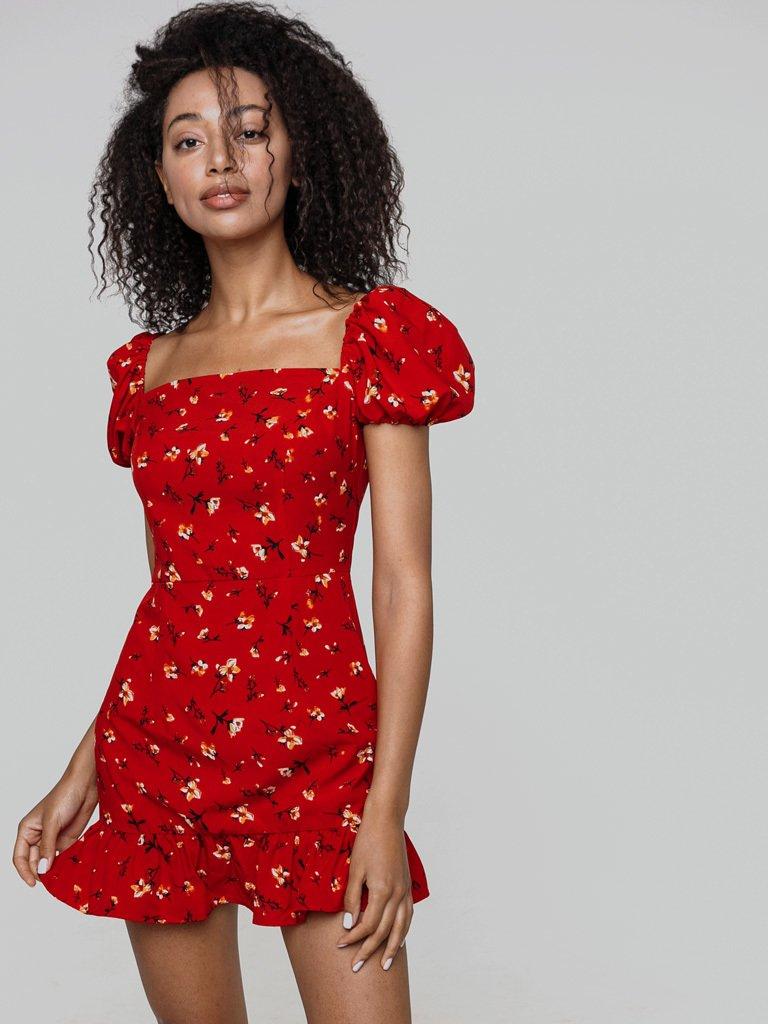 Czerwona sukienka mini z bufkami w kwiaciasty nadruk Love&Live