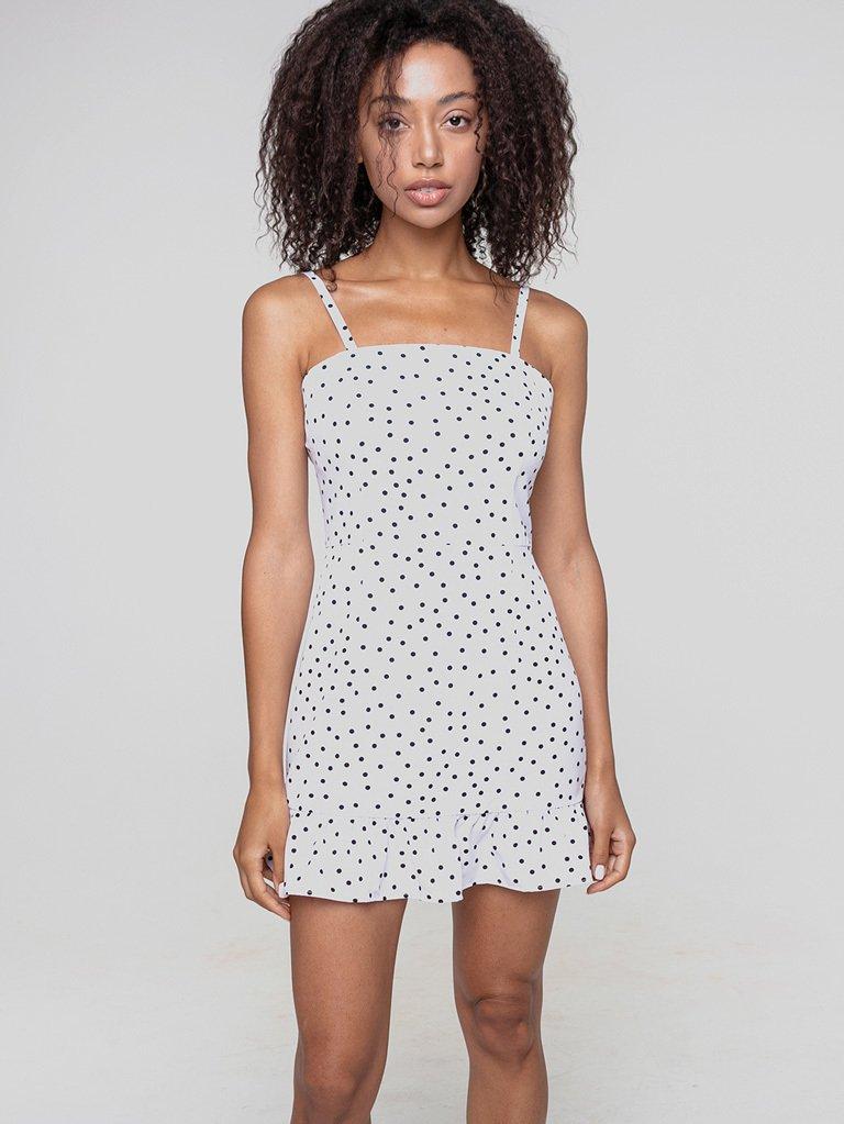 Biała sukienka mini z falbanką w grochy Love&Live