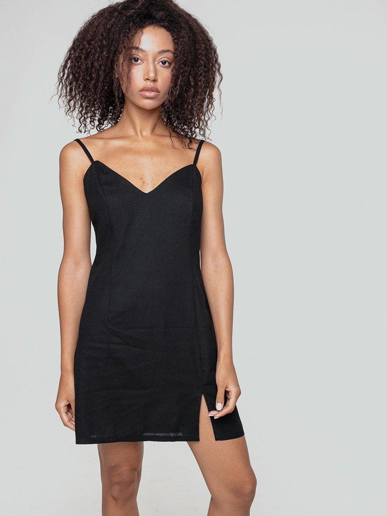 Lniana sukienka bieliźniana w kolorze czerni Love&Live