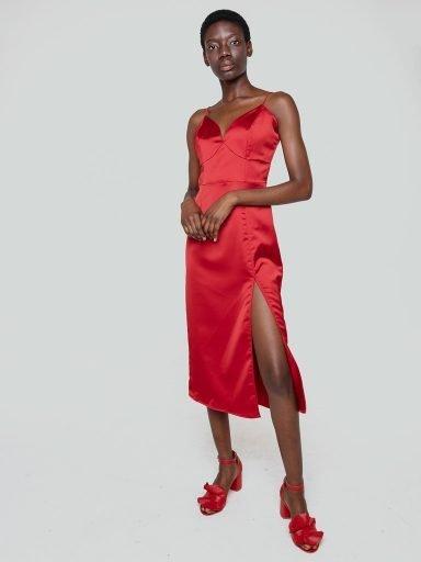 Sukienka bieliźniana midi w kolorze bordowym Katarina Ivanenko (zdjęcie 9)