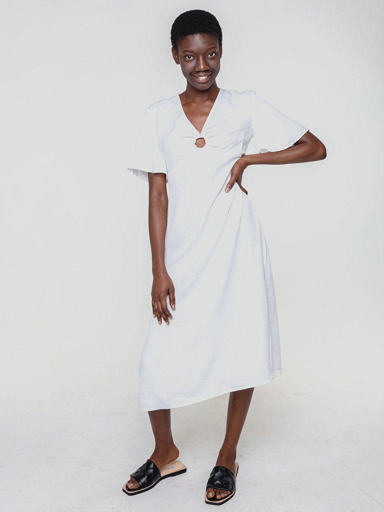 Lniana sukienka koszulowa w kolorze bieli Katarina Ivanenko