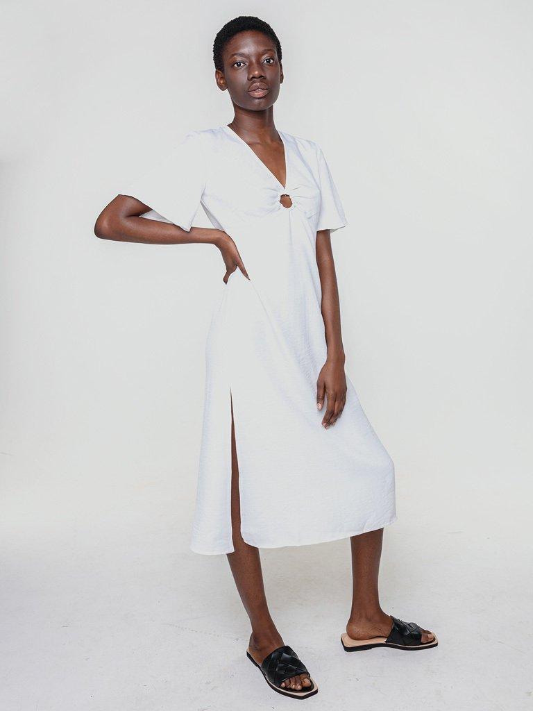 Lniana sukienka koszulowa w kolorze bieli Katarina Ivanenko (zdjęcie 2)