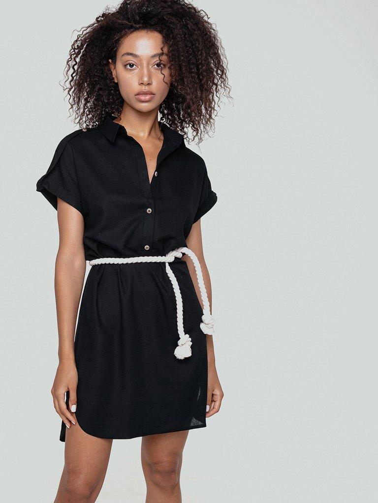 Sukienka mini w stylu koszulowym czarna z kontrastowym pasem Love&Live
