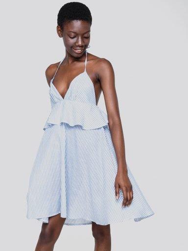 Sukienka mini z lnu w kolorze błękitnym Love&Live